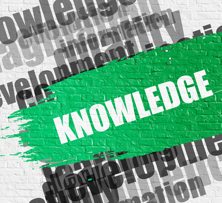 brushstroke: Education Service Concept: Knowledge - on White Brick Wall with Wordcloud Around. Modern Illustration. Knowledge Modern Style Illustration on the Green Brushstroke. Stock Photo