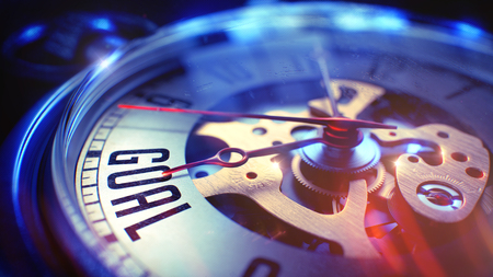 Tor. auf Weinlese-Taschen-Uhr-Gesicht mit Nahaufnahme des Uhr-Mechanismus. Zeitkonzept. Lens Flare-Effekt. Taschenuhr Gesicht mit Zielphrase darauf. Geschäftskonzept mit Film-Effekt. 3D Render. Lizenzfreie Bilder