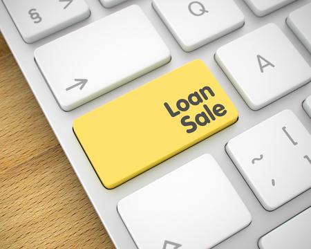 Online Service Concept: Loan Sale on the Laptop Keyboard Background. Loan Sale Written on the Yellow Button of Modern Laptop Keyboard. 3D Illustration.