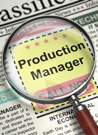 Production Manager - Jobs in Newspaper. Illustration of Job Vacancy of Production Manager in Newspaper with Magnifying Glass. Hiring Concept. Selective focus. 3D.