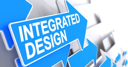 Integrated Design - Blue Pointer with a Text Indicates the Direction of Movement. Integrated Design, Label on Blue Arrow. 3D Render.
