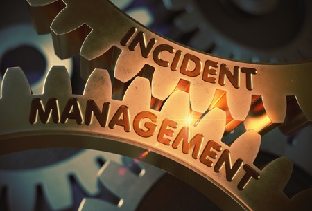 Incident Management - Concept. Incident Management on the Mechanism of Golden Metallic Cogwheels with Lens Flare. 3D Rendering.