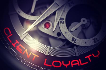Elegante Armbanduhr mit Kundenbindung Inschrift auf dem Gesicht. Kundentreue an der Automatik-Armbanduhr, Chronograph-Nahaufnahme. Zeitkonzept mit Blendenfleck. 3D-Rendering.