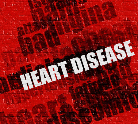 angina: Modern healthcare concept: Red Wall with Heart Disease on the it . Heart Disease - on Wall with Wordcloud Around .