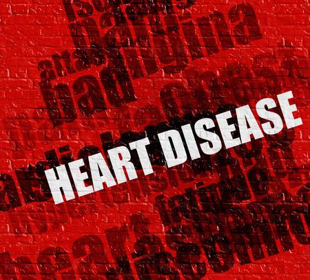 Modernes Gesundheitswesenkonzept: Rote Wand mit Herzkrankheit auf ihm. Herzkrankheit - an der Wand mit Wordcloud herum.