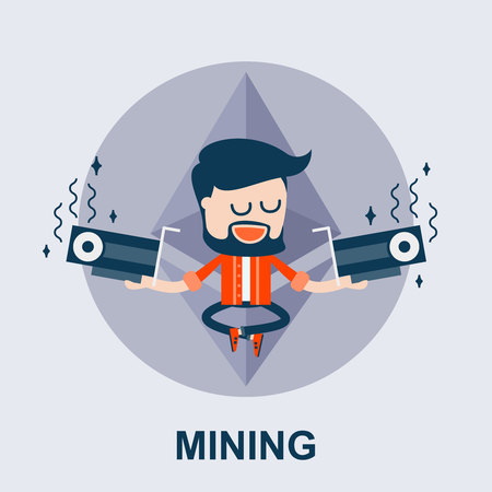 Ethereum or Another Cyptocurrency Mining - Cartoon Comic Vector Concept. Illustration of Blockchain and GPU Mining. The Miner Holds Two Videocards - ETH Cartoon Mining Concept. Illustration