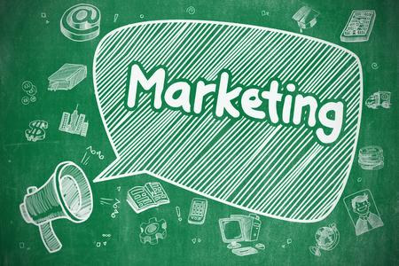 Marketing - Ilustración de dibujos animados. Pizarra verde.