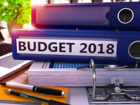 Office Folder with Inscription Budget 2018. Stock Photo