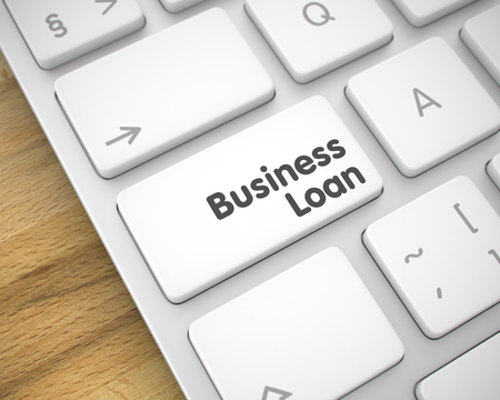 Business Loan on the White Keyboard Key. 3D.
