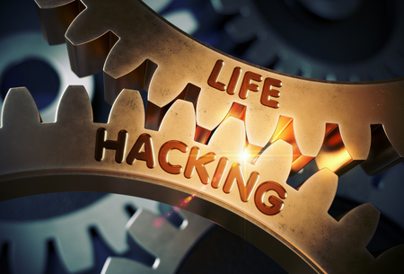 Golden Cog Gears with Life Hacking Concept. 3D Illustration.