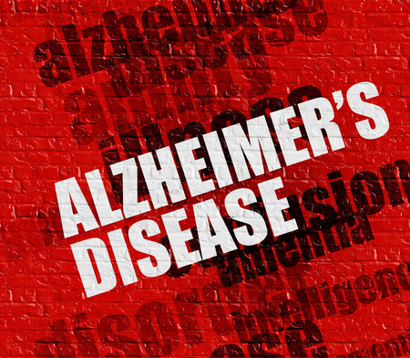 Health concept: Alzheimers Disease on Red Wall .