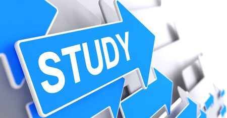 Estudio - Texto en el puntero azul. 3D. Foto de archivo - 90604868