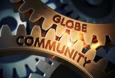 Globe Community on the Golden Gears. 3D Illustration.