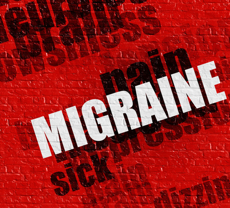 Modern health concept: Migraine on the Red Wall .