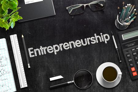 Entrepreneurship Concept on Black Chalkboard. 3D Rendering. Stock Photo