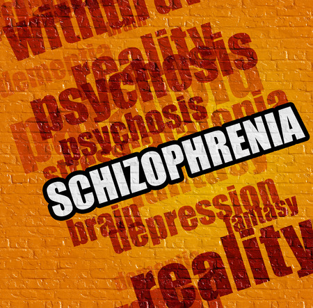 Healthcare concept: Schizophrenia on Yellow Wall .