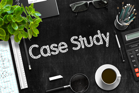 Black Chalkboard with Case Study Concept. 3D Rendering. 写真素材