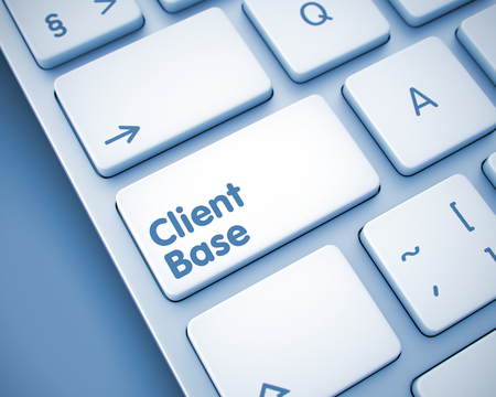Client Base - Message on the  Keyboard Key. 3D.