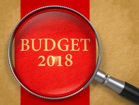 Budget 2018 Concept through Magnifier. 3d. Stock Photo
