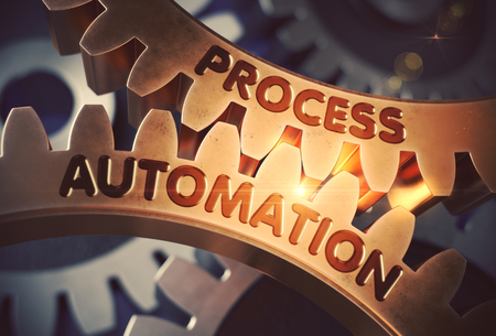 Process Automation on the Golden Cog Gears. 3D. Stock Photo
