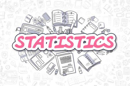 Statistics - Cartoon Magenta Text. Business Concept. Standard-Bild