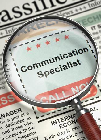 Were Hiring Communication Specialist. 3D. Standard-Bild