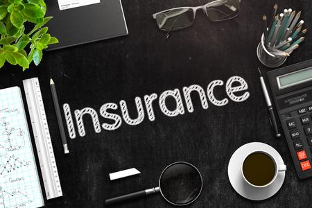 Insurance Handwritten on Black Chalkboard. 3D Rendering. Standard-Bild