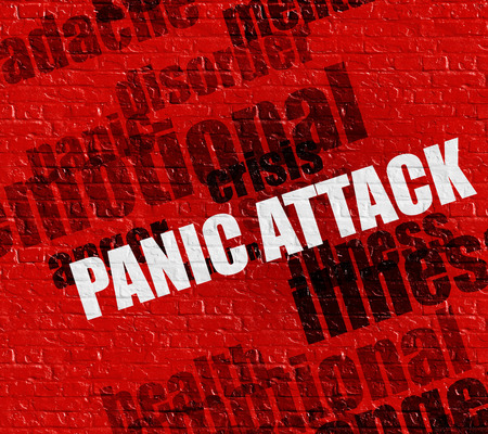 Modern healthcare concept: Panic Attack on Red Brickwall . Stock Photo