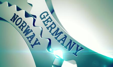 Germany Norway - Mechanism of Metal Gears. 3D. Standard-Bild