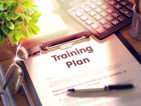 Training Plan Concept on Clipboard. 3D. Standard-Bild