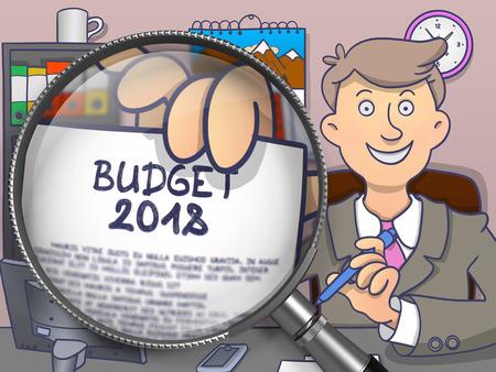 Budget 2018 through Magnifier. Doodle Design. Standard-Bild