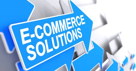 E-Commerce Solutions - Text on the Blue Pointer. 3D.