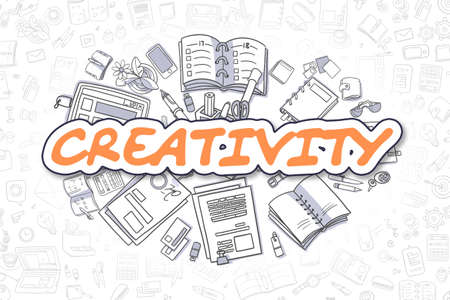 Creativity - Cartoon Orange Word. Business Concept. Standard-Bild