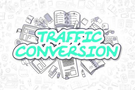 Traffic Conversion - Cartoon Green Word. Business Concept.