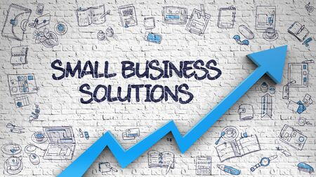 Small Business Solutions Drawn on Brick Wall. Standard-Bild