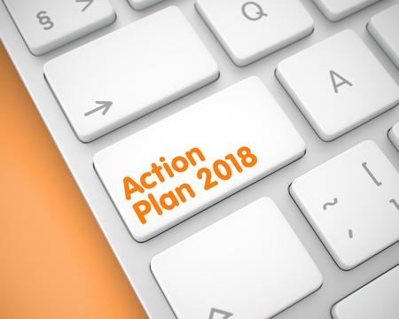 Action Plan 2018 on the White Keyboard Keypad. 3D. Standard-Bild