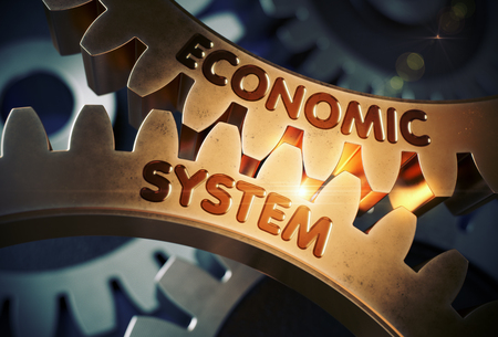 Economic System Concept. Golden Cog Gears. 3D Illustration.