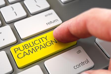 Hand Finger Press Publicity Campaign Button. 3D.