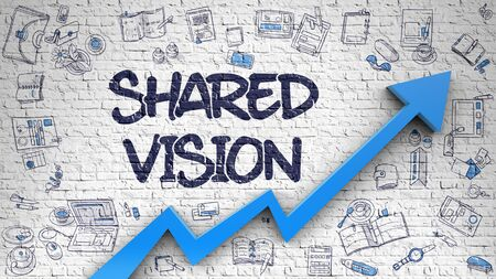 Shared Vision Drawn on White Brick Wall. Standard-Bild