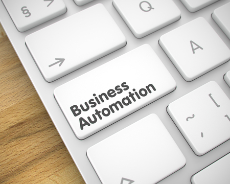Business Automation - Text on White Keyboard Keypad. 3D.