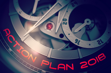 Action Plan 2018 on Elegant Wristwatch Mechanism. 3D.
