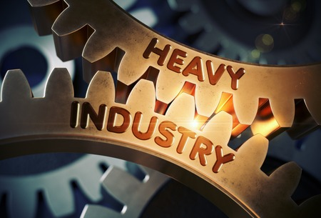 Golden Gears with Heavy Industry Concept. 3D Illustration.