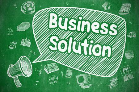 Business Solution - Doodle Illustration on Green Chalkboard.