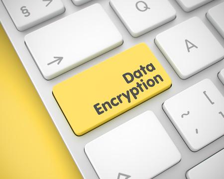 Data Encryption - Text on the Yellow Keyboard Key. 3D. Standard-Bild