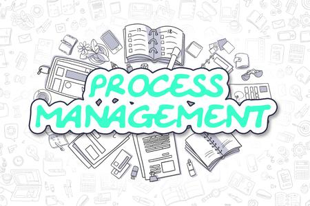 Process Management - Cartoon Green Text. Business Concept.