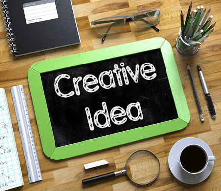 Small Chalkboard with Creative Idea. 3D.