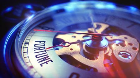 Fortune - Phrase on Vintage Pocket Watch. 3D. Standard-Bild