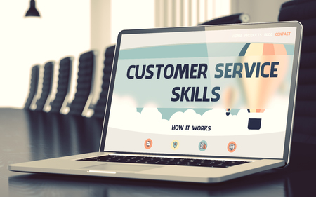 Laptop with Customer Service Skills Concept. 3D. Standard-Bild
