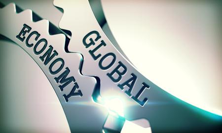Global Economy - Mechanism of Metal Cogwheels. 3D. Standard-Bild
