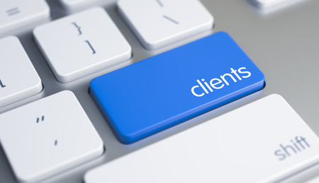 Clients - Message on Blue Keyboard Button. 3D.